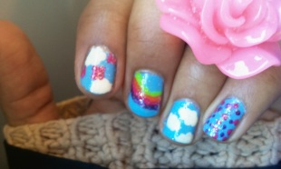 Moi aussi je veux participer à #Thesundaynailbattle: Cloud VS Rainbow